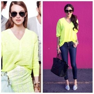 J. CREW Marled Linen Neon V-Neck Summer Sweater